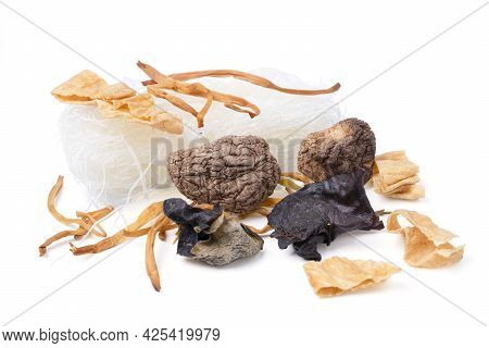 Isolated Chinese Medicine. Top View Natural Raw Herbal Ingredients As Part Of An Herbal Tonic Formul