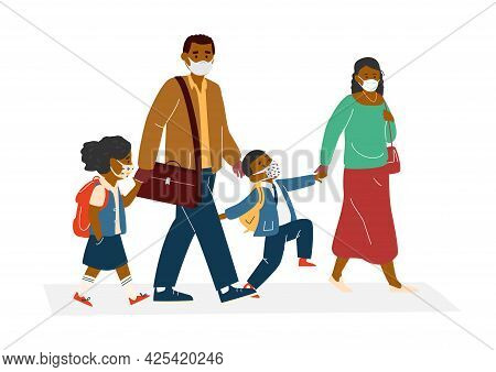 Afro American Parents With Children In Protective Masks Going To School. Back To School During Coron