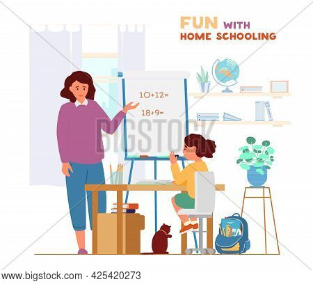 Homeschooling Concept. Mother Or Tutor Teaching Girl At Home. Girl Sitting At Desk And Raises Hand.