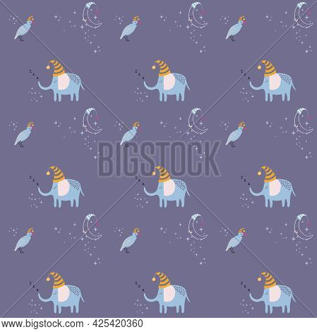 Pattern With Cute Sleeping Elephant, Bird And Moon. Hand Drawn Vector Characters In Simple Scandinav