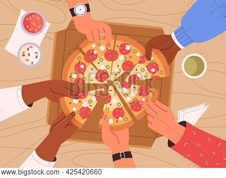 Top View Of Hands Taking Pizza Slices From Table At Corporate Party. Hungry Friends Eating Italian F