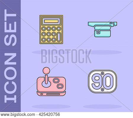 Set 90s Retro, Calculator, Joystick And Waist Bag Of Banana Icon. Vector