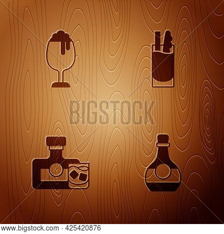 Set Bottle Of Cognac Or Brandy, Glass Beer, Whiskey Bottle Glass And Cocktail Bloody Mary On Wooden