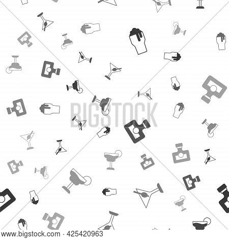 Set Glass Of Beer, Martini Glass, Alcohol Drink Rum And Cocktail On Seamless Pattern. Vector