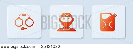 Set Thief Mask, Handcuffs And Canister Fuel. White Square Button. Vector