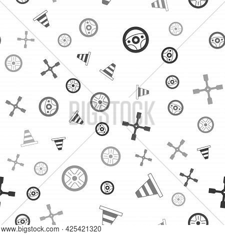 Set Steering Wheel, Traffic Cone, Wheel Wrench And Alloy On Seamless Pattern. Vector