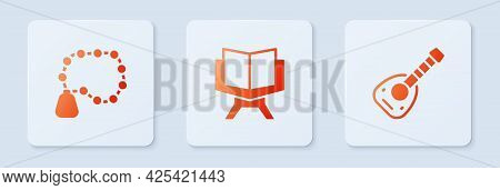 Set Holy Book Of Koran, Rosary Beads Religion And Lute. White Square Button. Vector