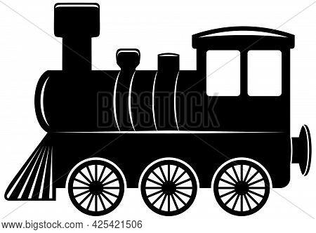 Locomotive. Antique Black Vector Train. White Isolated Background.