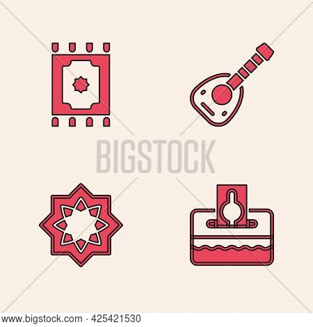 Set Donate Or Pay Your Zakat, Traditional Carpet, Lute And Octagonal Star Icon. Vector