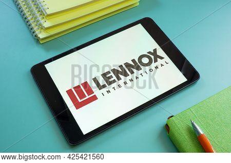 Kyiv, Ukraine - June 30, 2021. Logo Of Lennox International Displays On The Tablet. Editorial.