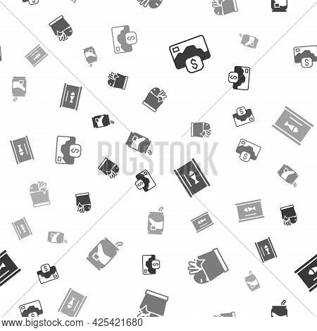 Set Credit Card, Shopping Bag And Food, Canned Fish And Soda Can On Seamless Pattern. Vector