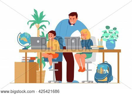 Homeschooling Concept. Father Or Tutor Teaching Kids At Home. Girl And Boy Sitting At Desk At Laptop
