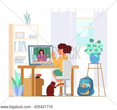 Girl Sitting In Front Of Laptop In Her Room Learning Using Video Conference With Teacher. Distant Ed