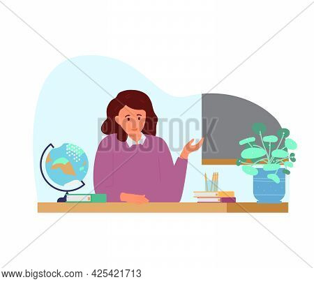 Woman Teacher At Desk In Classroom. Isolated On White. Flat Vector Illustration.
