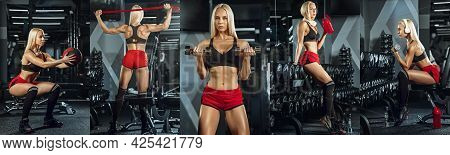 Muscular Young Female Athlete, Creative Collage With The Different Photos Of One Model. Caucasian Wo