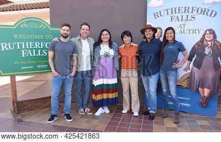 LOS ANGELES - JUN 26:  Dustin Milligan, Ed Helms, Sierra Teller Ornelas, Jesse Leigh, Tai Leclaire and Kimberly Guerrero {Object} arrives for the 'Rutherford Falls' Photo Op  June 26, 2021 Los Angeles