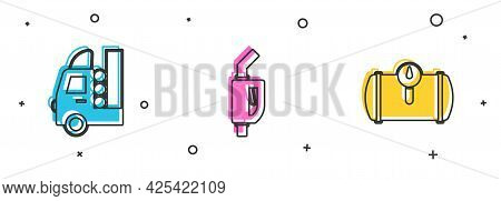 Set Gas Tank For Vehicle, Gasoline Pump Nozzle And Icon. Vector