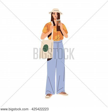 Modern Woman In Casual Summer Clothes. Stylish Female Wearing Trendy Fashion Apparel And Tote Bag. M