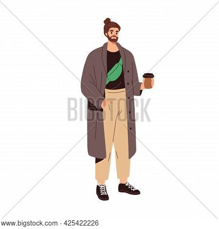 Modern Man In Fashion Casual Clothes. Bearded Guy With Waist Bag, Wearing Trendy Coat, Pants And Sne