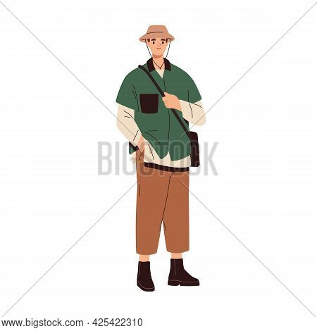 Young Modern Man Wearing Fashion Casual Clothes. Stylish Guy In Trendy Hat, Shirt, Pants And Boots.