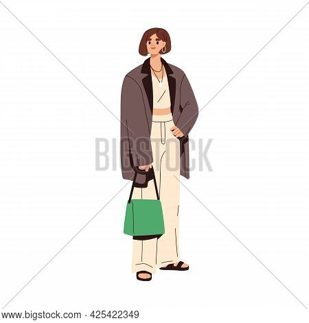 Woman Wearing Summer Fashion Clothes And Accessories. Female In Modern Casual Outfit. Model In Trend