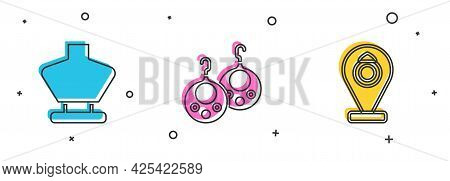 Set Necklace On Mannequin, Earrings And Jewelry Store Icon. Vector