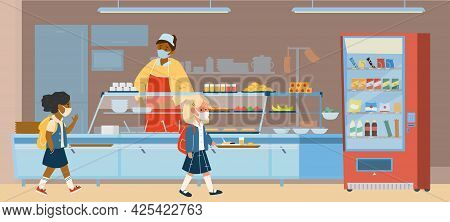 Vector School Canteen With Different Races Pupils In Protective Masks Standing In Line To Take Food.