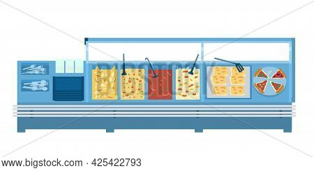 Food Court Or Canteen With Different Food And Utensils. Isolated On White. Flat Vector Illustration.
