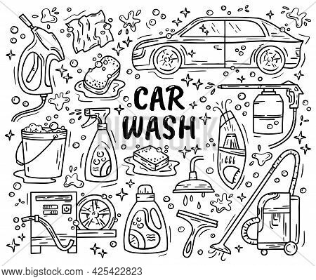 Car Wash And Detaling Set Of Icons