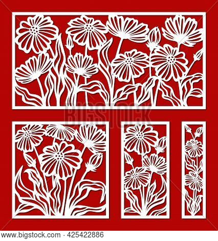 Set Of Decorative Panels With A Floral Pattern. Square, Rectangular Frames With Chamomile Flowers, P