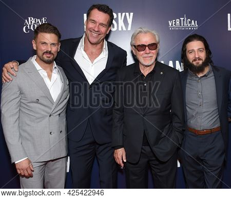 LOS ANGELES - JUN 21: David Cade, David James Elliott, Harvey Keitel, John Magaro and Danny A. Abeckaser arrives for the ˜'Lansky Hollywood Premiere on June 21, 2021 in Los Angeles, CA