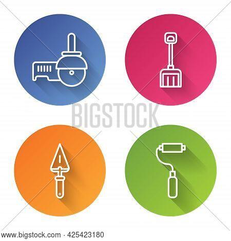 Set Line Angle Grinder, Snow Shovel, Trowel And Paint Roller Brush. Color Circle Button. Vector
