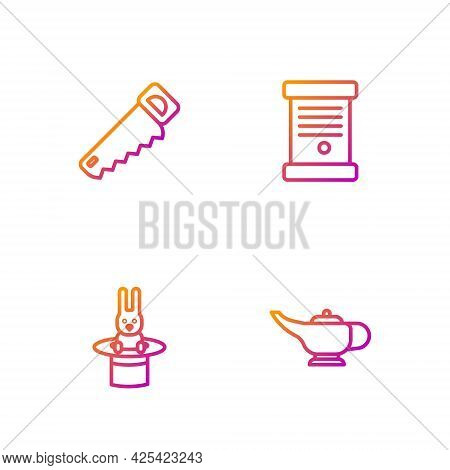 Set Line Magic Lamp Or Aladdin, Magician Hat And Rabbit, Hand Saw And Decree, Paper, Parchment, Scro