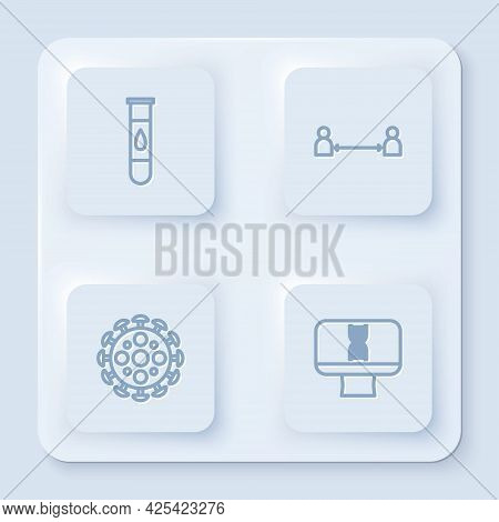 Set Line Blood Test And Virus, Safe Distance, Virus And Dna Spiral Computer. White Square Button. Ve