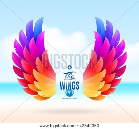 Abstract vector illustration - colorful wings on a tropical sea shore
