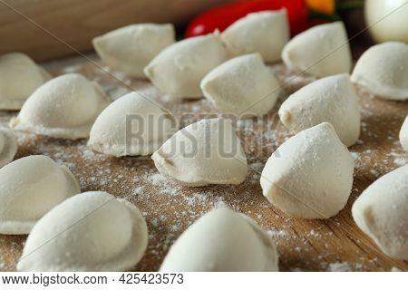 Concept Of Cooking Vareniki Or Pierogi, Close Up