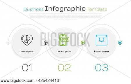 Set Line Healed Broken Heart, Mobile With And Shopping Bag. Business Infographic Template. Vector
