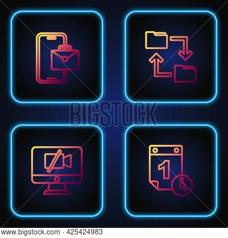 Set Line Time Management, Video Camera Off On Computer, Freelancer And Cloud Storage Document Folder