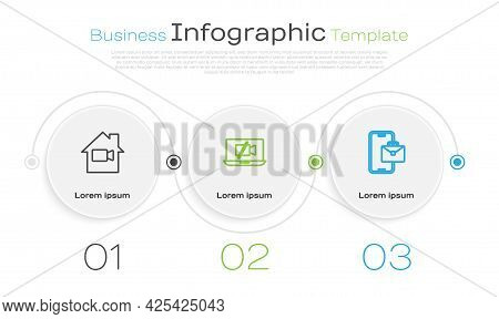 Set Line Video Camera Off In Home, On Laptop And Freelancer. Business Infographic Template. Vector