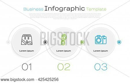 Set Line Short Or Pants, Ear With Earring And Photo Camera. Business Infographic Template. Vector