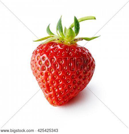 Fresh organic strawberry isolated on white background.  Ripe strawberry, close up.