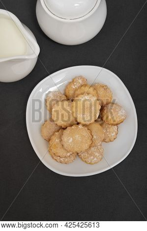 Homemade Shortbread Cookies On White Plate Top View. Baking For Tea.