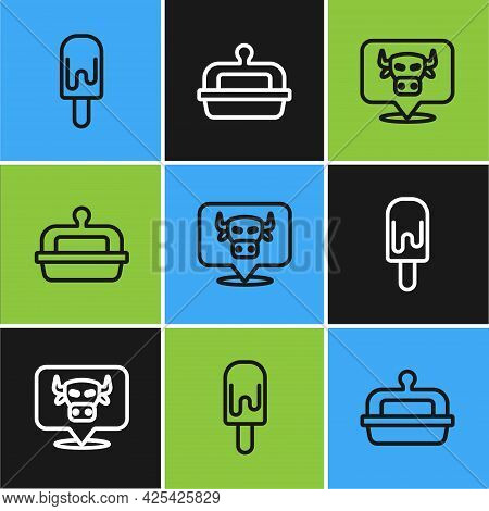 Set Line Ice Cream, Cow Head And Butter In Butter Dish Icon. Vector
