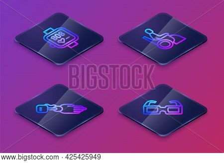 Set Isometric Line Smart Watch, Prosthesis Hand, Woman In Wheelchair And Eyeglasses. Blue Square But