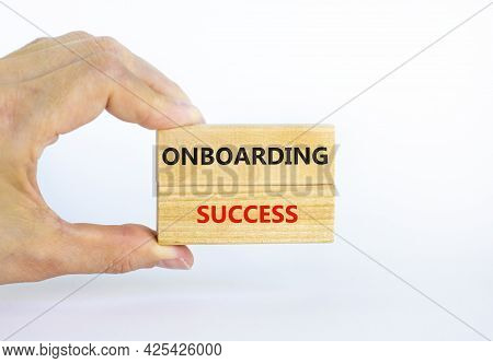 Onboarding Success Symbol. Wooden Blocks With Words Onboarding Success On Beautiful White Background