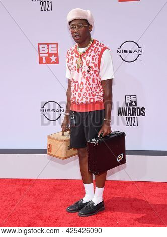 LOS ANGELES - JUN 27:  Tyler the Creator {Object} arrives for the 2021 BET Awards on June 27, 2021 in Los Angeles, CA