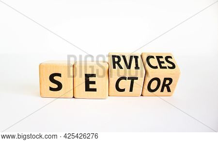 Services Sector Symbol. Turned Wooden Cubes With Words Services Sector. Beautiful White Background.
