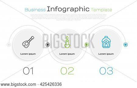 Set Line Lute, Burning Candle And Ramadan Kareem Lantern. Business Infographic Template. Vector