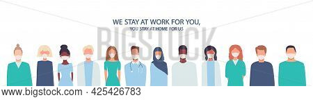 Coronavirus Covid-19 Infection, Quarantine. Doctors, Nurses, Healthcare Workers, Medical Staff. Mult