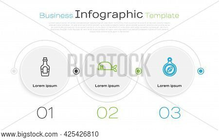 Set Line Alcohol Drink Rum, Pirate Bandana For Head And Compass. Business Infographic Template. Vect